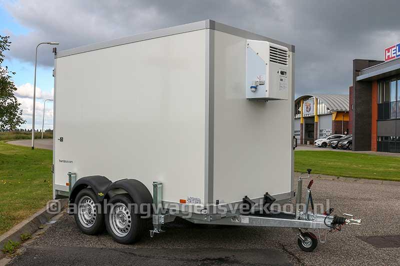Tandemas koelaanhangwagen met steunpoten